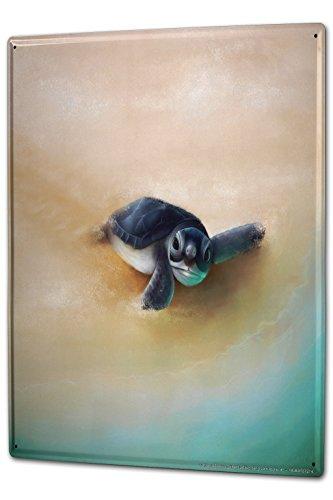 LEotiE SINCE 2004 Blechschild XXL Kinderzimmer Schildkröte Sand