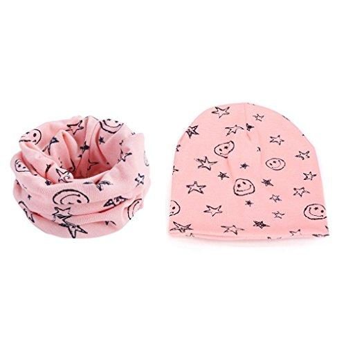Fuibo Baby Mützen, Baby Stern Hut Baumwollschal Kappen Hut Knit Häkelarbeit Frühlings Kappen Hut Kind Schals (Pink)