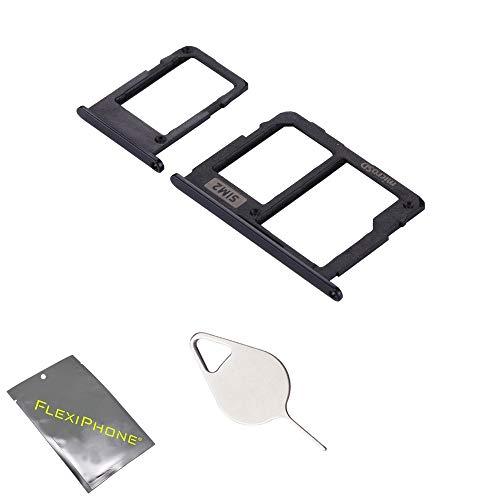 FLEXIPHONE pour Samsung Galaxy J3 2017 J330 J5 2017 J530 J7 2017 J730 Tiroir SIM 1 + SIM 2 + Carte SD de Remplacement avec Ejecteur (Noir)