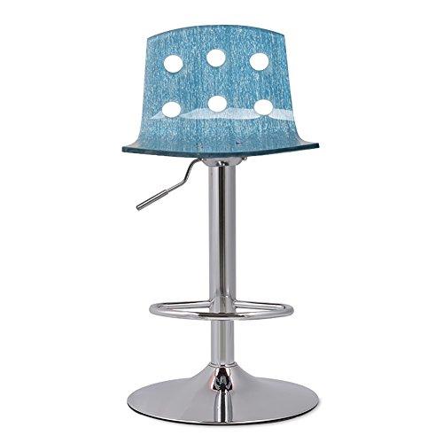 MENA Uk Drehstuhl, Arbeitshocker, Schönheitsrollenhocker, Acrylkissen zu durchscheinend, Verschiedene Schemel-Formen Hohe Schemel (Farbe : Silver Blue, größe : 41cm)