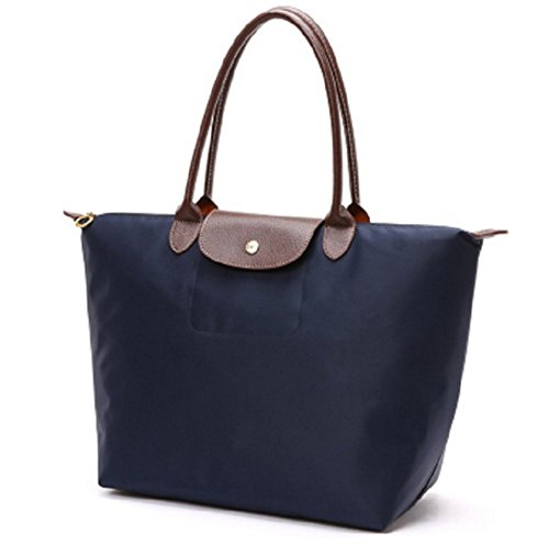 YAAGLE Handtasche Damen Nylon Schultertasche für Shopper Strand Reise Faltbar dunkelblau
