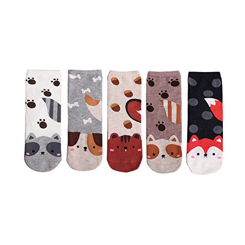LHZY Womens Girls Socks 5 Pack,Fun Cute Cats Cartoon Sweet Animal Design Cotton Blend Crew Over Ankle