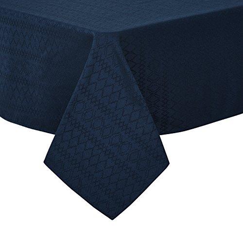 Deconovo Tischdecke Wasserabweisend Tischwäsche Lotuseffekt Tischdecke Jacquard 130x220 cm Raute Dunkelblau