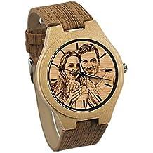 06f4656f6d54 Reloj de Foto Personalizado Mensaje de Madera Grabado Reloj de Aniversario  de cumpleaños Regalo de Boda