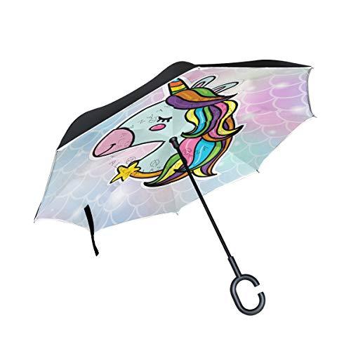 Orediy paraguas invertido con cabeza de unicornio y escamas de pescado de doble capa, paraguas grande para el reverso del coche, para exteriores, resistente al viento, lluvia, sol