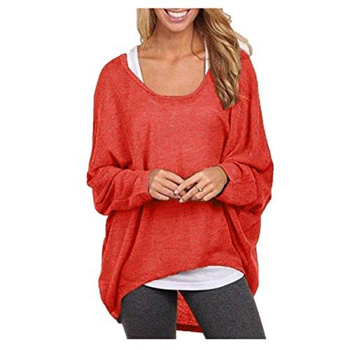 Romacco Damen Blusen Sweatshirt O Ansatz Asymmetrisch Oversize Tops Lose  Pullover 8b1a0e8659