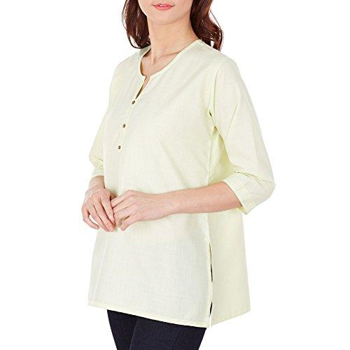 Indiano Designer-tunica per Donne Kurti–Kurtis–cotone & viskosetops Luxury per donne Giallo