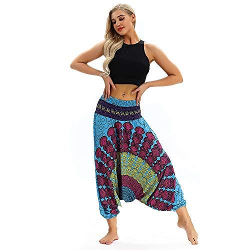 CAOQAO Neutro Moda Casual Vita Alta Boho Sciolto Elastico Sciolto Tuta Harem Yoga Pantaloni/Multicolore/Codice/Adatto per Palestra All'aperto Yoga Aerobica