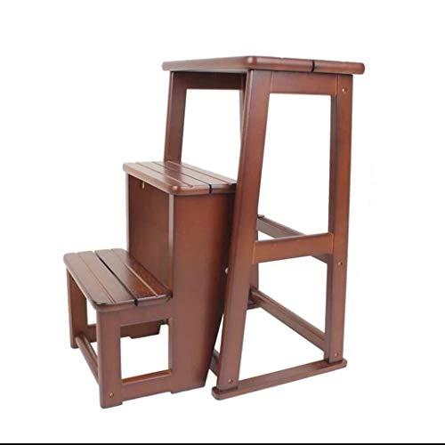 Tideng sgabello alto in legno massello di alta qualità, sgabello a tre livelli, sgabello pieghevole multifunzionale (colore : brown)