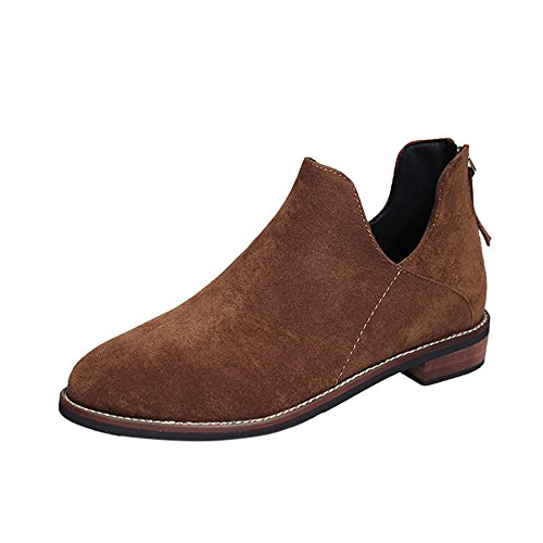 TianWlio Boots Stiefel Schuhe Stiefeletten Frauen Herbst Winter Schnalle Faux Zip Solide Warme Stiefel Stiefeletten Schuhe Weihnachten Braun 37
