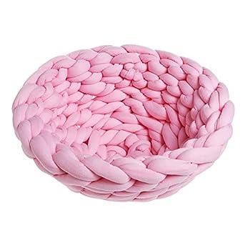 Rain Queen Fait Main Tricot 100% Coton Lit Nid Panier pour Chien Chat Animal (Diamètre 40cm, Rose)