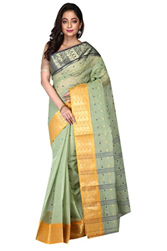 Badal Textile Handloom Cotton Tant Saree, Traditional Bengali Wear (Multicolour)