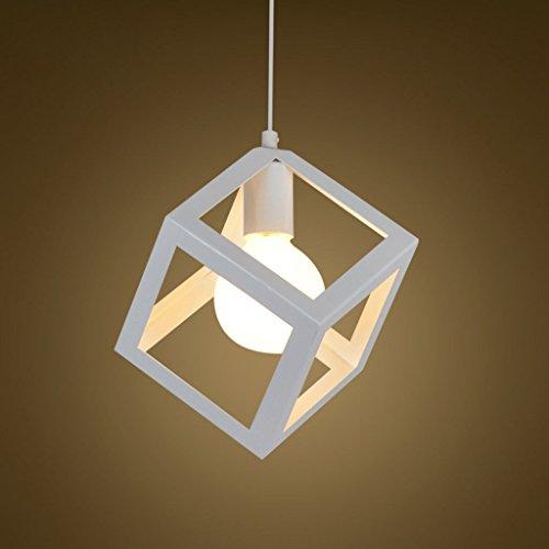 Lámpara Colgante Iluminación de techo Lustre DIY del metal Jaula lámpara pendiente de la luz Vintage industrial E27 con línea colgante ajustable 1.2m (blanc)