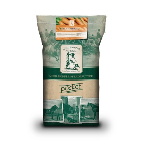Mühldorfer Futter-Chips für Sport- und Freizeitpferde, Getreidefrei, Karotten Chips, 7 kg (Magnesium Ergänzung In Bio)