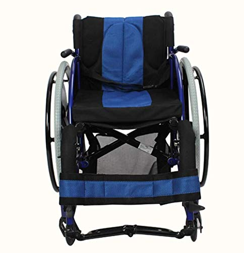Bariatric Faltbare Rollstuhl (AIWO-LPT Tragbarer Rollstuhl for die Behinderung der unteren Extremitäten, Lähmung Jugendwettbewerb Sport-Rollstuhl (Color : Blau))
