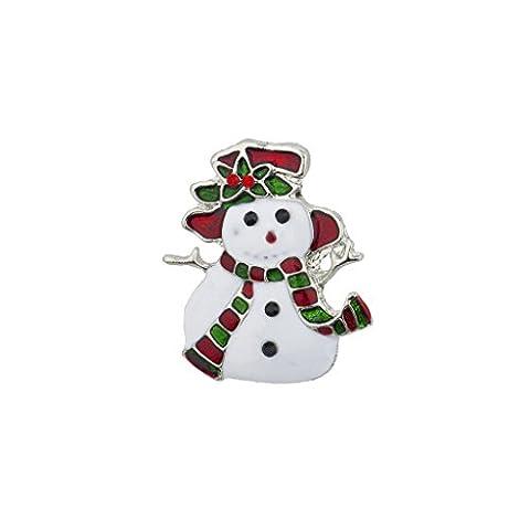 LUX Zubehör Urlaub Weihnachten weiß rot grün Emaille Schneemann Brosche