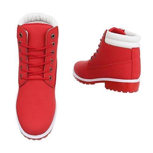Ital-Design Schnürstiefeletten Damenschuhe Biker Boots Blockabsatz Schnürer Stiefeletten Rot FC8645