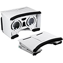 Archgon White Foldable Google Cardboard 3d virtual Reality Glasses DIY Kit for 4.2~ 5.2inches Smartphone w/Adjustable Lens & Strap–White