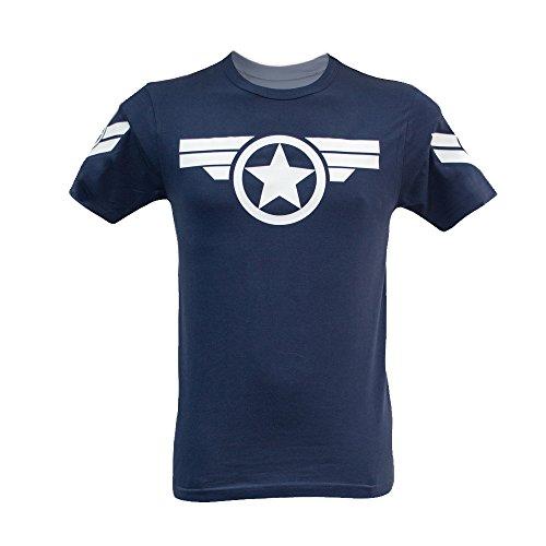 Herren Captain America-Uniform Marvel T-Shirt Steve Rogers Super Soldier Gr. Größe L, Blau - Navy