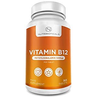 Vitamin B12 Methylcobalamin 1000μg 365 Tablets (1 Year Supply) | Reduction of tiredness and fatigue & normal function of the immune system - AMAZON'S CHOICE for