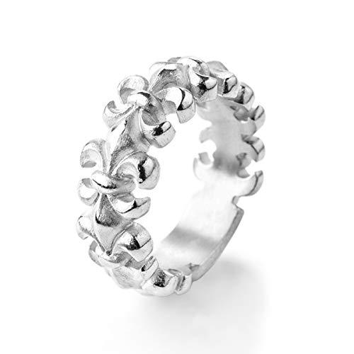 Drachenfels Luxus Damen Bandring | Kollektion Lilienkönigin | Edler Lilien Ring in Echtsilber | Design-Schmuck aus 925 Sterling Silber | Gr. 58