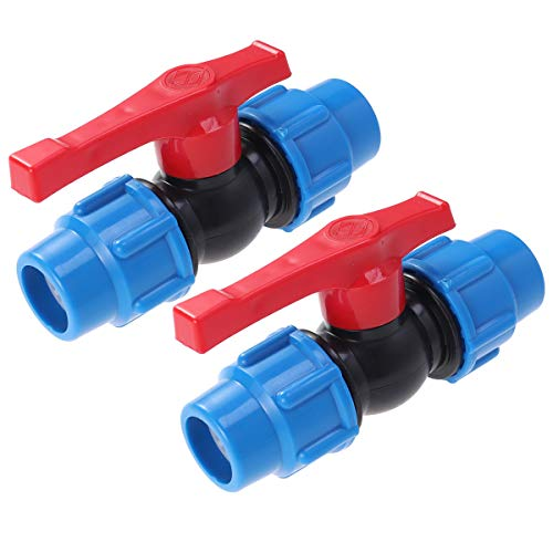 OUNONA 2 pcs 2,5 cm Plastique Tuyau Tuyau Ball Valve pour Fish Tank Débit connecteur Tuyau d'arrosage (Bleu)