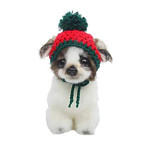 Beegame Weihnachtsmütze für Hunde und Katzen, handgefertigt, Wollmütze, niedlich, gestrickt, für Weihnachten, Halloween, Partys, Christmas Hat for Dog -