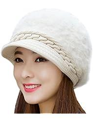 gespout invierno Fashion para mujer Plus calavera Beanies caliente de punto boina sombrero de felpa para al aire libre Viajes compras, color beige, tamaño 56-58cm