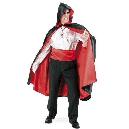 Kostüm Herrscher Halloween (Cape mit Kapuze schwarz/rot Halloween Gr)