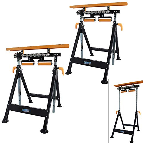 TrutzHolm® Werkbank höhenverstellbar Rollenbock Klappbock V-Rollen klappbar 200 kg Werktisch 4 in 1