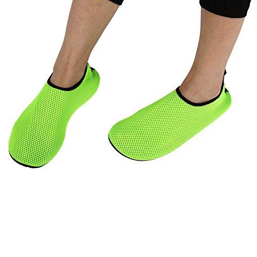 boldion £ ¨ TM £ © 2016Sandales en maille respirante pour femmes hommes Plat Souple d'été fashion Unisexe en Maille Bain Palmes Plongée Chaussures de bois de santal vert 5size Green