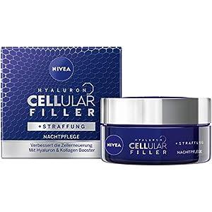 NIVEA Hyaluron CELLular Filler – Crema de noche antiedad (1 x 50 ml), crema facial antiarrugas para la noche, eficaz e intensa