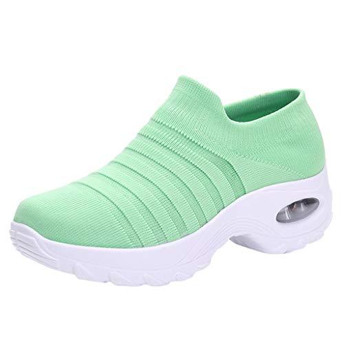 Damen Wanderschuhe Socken Sneakers Plateauschuhe Abriebfeste Mesh Sportschuhe Slip On Turnschuhe Freizeitschuhe Lazy Schuhe, Grün-2, 39 EU