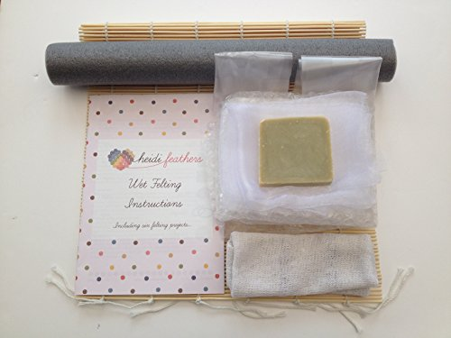 Heidifeathers Starter Wet Felting Kit Without Wool - bamboo mat, bubble wrap, voile netting, soap, rolling pin