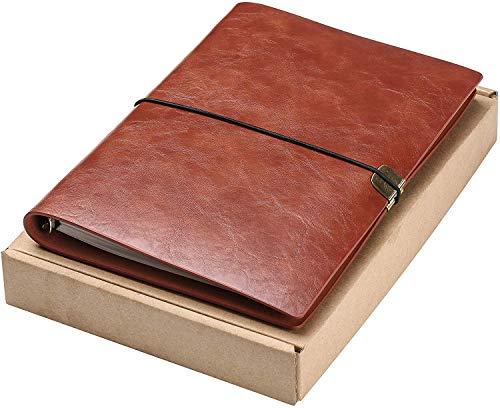 Diario de Escritura de Cuero A5 Viajeros Recargables Cuaderno Cuaderno Diario Cuaderno de Bocetos Vintage Navidad Regalos de San Valentín Cumpleaños de Bodas Regalos de Jubilación (Marrón)