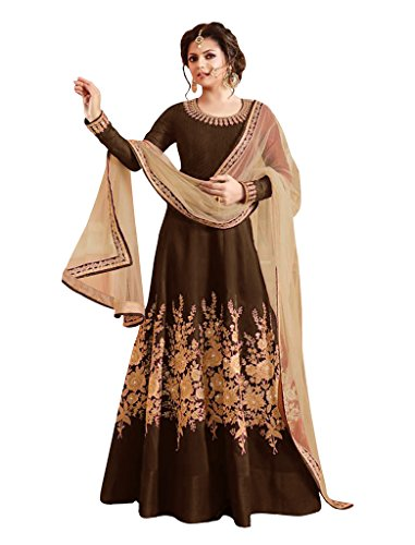 Sancom Brand New Designer Coffee Colour Bhagalpuri With Heavy Embroidery Anarkali Suit  available at amazon for Rs.1219