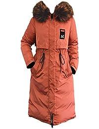 Chaqueta con Capucha Reversible de Invierno para Mujer Abrigo Largo Acolchado de algodón cálido