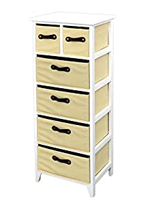 landhaus kommode schrank 105 cm h he wei beige badregal hochregal mit 6 k rben in braun amazon. Black Bedroom Furniture Sets. Home Design Ideas