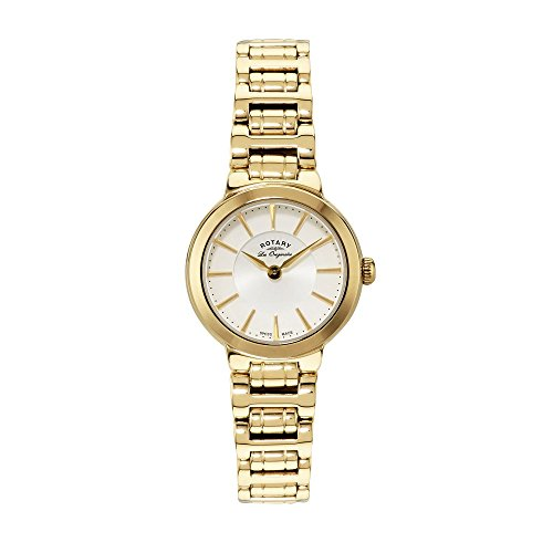 Rotary Women's Quartz Watch with White Dial Analogue Display and Gold Plated Stainless Steel Bracelet LB90084/02