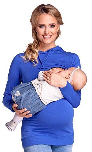 Happy Mama. Femme Sweat à Capuche d'allaitement Double Couches Maternité. 272p Bleu Royal