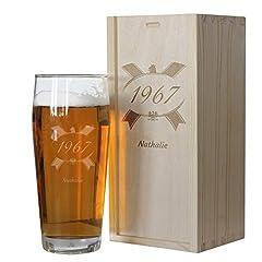 Idea Regalo - Cofanetto bicchiere birra compleanno personalizzato con anno di nascita