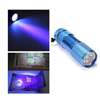 Mini Torche Lampe de Poche 9 UV LED Détecteur de Faux Billet Bleu