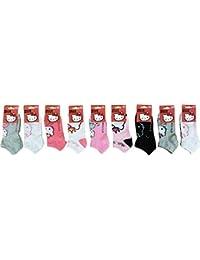 Chaussettes fille tiges courtes Hello Kitty lot de 9 assortis selon arrivage