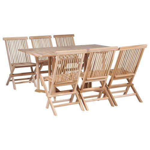 vidaXL Jeu de Table et chaises à Dã®Ner Pliant 7 pcs Teck Massif