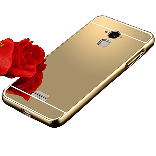 Shopizone Mirror Back + Luxury Metal Bumper Case Cover for Coolpad Note 3 - Golden