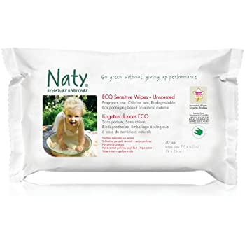 Naty by Nature Babycare Eco Sensitive Wipes - 10 x Packs of 70 (700 Wipes)