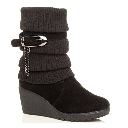 womens-ladies-mid-heel-wedge-knitted-collar-slouch-buckle-ankle-boots-size-6-39-black