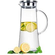 LIVIVO Jarra de cristal jarra (1,5 litros) para líquidos fríos y calientes – té, café, vino mullido, caliente, chaqui de bajada, infusiones de agua y té, ...