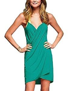 Donna Parei Copri Bikini Con Scollo a V Tunica Spiaggia Swimwear Cover Up Vestito Abito Corto Verde Scuro