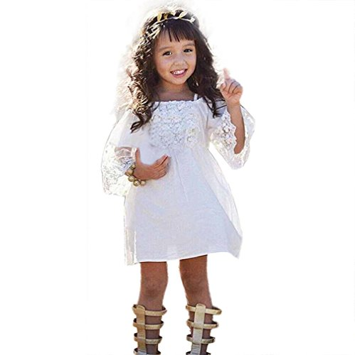 Sommer Kleid Partykleid Babykleidung Baby Mini Kleid Junge Mädchen Print Dresses Kinder Baby Off Shoulder Party Kleider Baumwolle hochzeit geburtstag taufen kleid Blumenmädchenkleid LMMVP (Weiß, 130) (Für Mädchen-kleider Jungen)